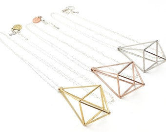 Prism Power // Geometric Necklace // 3D Printed Steel Brass Silver necklace // Gold-Plated // Festival Wear