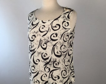 "Vintage 80s Black and White Tank Tops, Size 6, Bust 38"", Womens White Swirl Patterned Sleeveless Blouses, Other Sizes & Colors, Multiples x2"