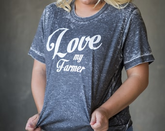 Love My Farmer black acid wash tee
