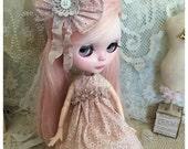 Blythe doll dress and hair bow vintage pink style tiny daisy print design handmade by Olive Grove Primitives