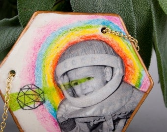 Air Dry Clay Pendant, Sci Fi Jewelry, Weird, Cosmonaut, Collage, Pencil Drawing, Space Odissey, Schmuck, Hexagon, Ceramic, Geometry, Rainbow