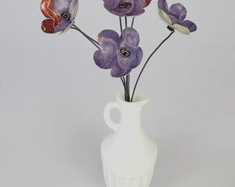 Purple grapes and Copper colors Bouquet of Tin Forever Blooming Flowers