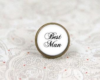 Best Man Tie Tack, Tie Pin, Lapel Pin, Brooch Pin, Boutonniere, Custom Tie Tack, Wedding Keepsake, Bridal Party Accessory