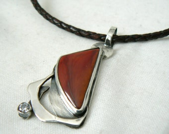 Sterling silver Mookaite and White CZ Pendant with brown leather necklace