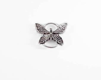Butterfly Connector Charm: Antique Silver Finish - Connector Charms for Bracelets