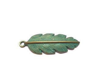 1 Large Feather Pendant: Verdigris Patina Finish One-Sided Pendant for Necklaces