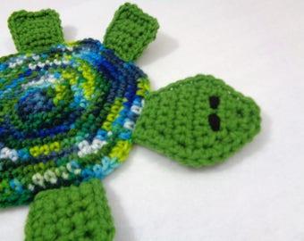 Turtle Pot Holder, Blue and Green Hot Pad, Colorful Tortoise Trivet, Crochet Gift for Mom, Home Decor, Ocean Bathroom Decor, Beach Decor