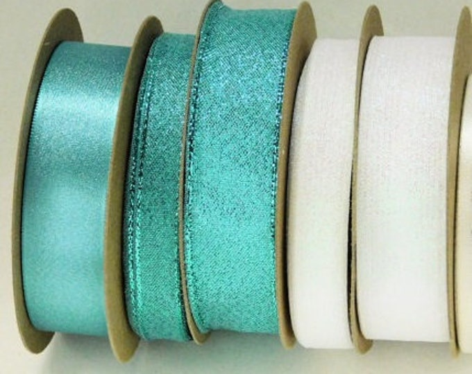 White & Turquoise 'wedding' Blue Metallic Ribbons Woven Edge: set of FIVE Luxury Ribbons, 6 ft each (total 30 ft), Made in England HANKS