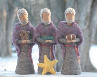 Wise Men/ Wise Kings/ 3 Kings Needle Felted Nativity Set