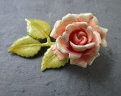 Vintage Floral Brooch - Midcentury Costume Jewelry Pin - Pale Pastel Pink Rose