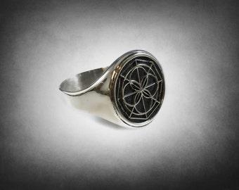 Universal Kenpo Karate Symbol  Black Okinawan Ed Parker Kenpo Sterling Silver 925 Ring
