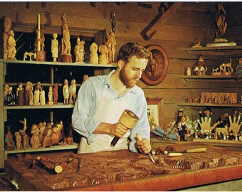 Silver Dollar City Craftsman - Woodcarver Peter Engler - Branson, MO - Postcard - Ozark History!