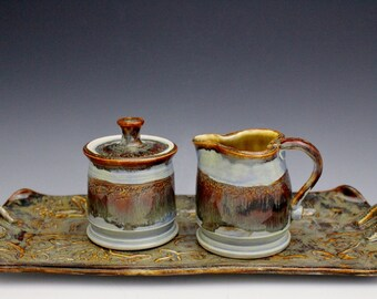 Porcelain Handmade Cream and Sugar Set with Tray in Arctic Blue Ice and Jasper