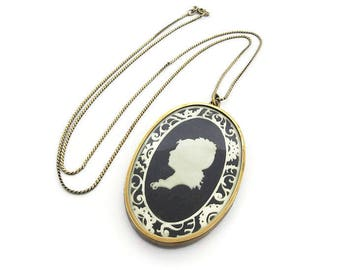 Vintage Silhouette Cameo Celluloid Glass Gold Metal Pendant Necklace - Vintage Cameo, Vintage Necklace, Sterling Chain