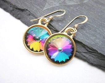 Pink Purple Blue Dangles -- Purple Rainbow Earrings -- Swarovski Rainbow Drop Earrings -- Multi Color Crystal Earrings -- Electra Earrings