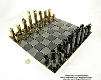 50 CALIBER BULLET shell chess pieces Version-4.    Optional welded steel board #0320170002 -Free Shipping to U.S.