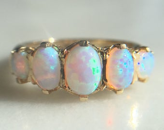 RESERVED Vintage English 9k Gold and Opal Ring