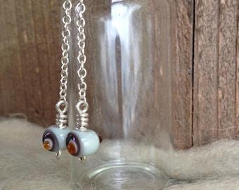 Lampworked Glass Bead Earrings - Petite Bean Dangle + Sterling Silver