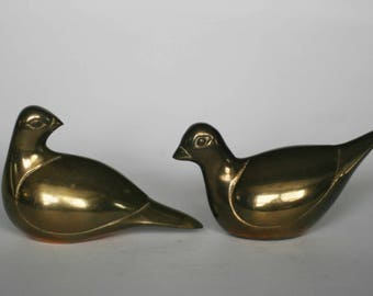 vintage brass birds set of two