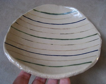 Ceramic Dish - Art Dish - Faded Lines