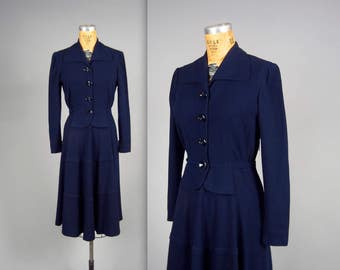 1940s navy blue wool dress • vintage 40s suit dress • winter weight dress