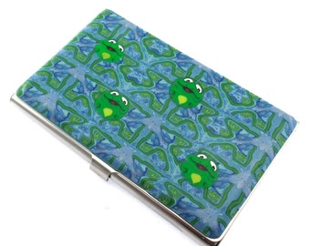 Unique Colorful Polymer Clay Business Card  Case, Frog Design