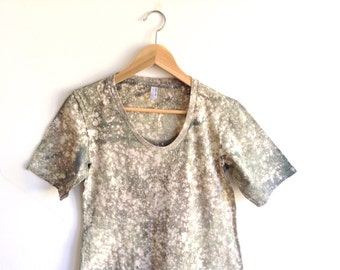 Gray Tee Dress in Dyed Speckled Gradient Pattern - Large