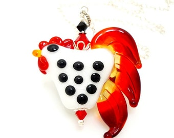 Chicken Necklace, Rooster Necklace, Lampwork Chicken Necklace, Farm Animal Jewelry, Glass Bead Necklace, Beadwork Necklace, Animal Jewelry