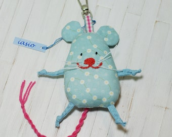 Blue Mouse Key Ring Small Pendant Key Chain Toy Handmade Soft Gift Christmas Holidays