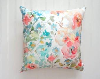 NEW! Garden Fleurs No2 Pillow Cover, Watercolor Floral Pillow Covers, Designer Fabric, 18x18, 20x20 or Lumbar Sizes