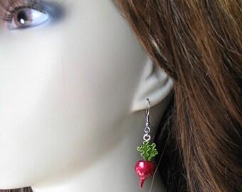 Luna Inspired Dangle Radish Earrings, Luna Lovegood, Harry Potter, Radishes, Vegan, Vegetable Earrings, Farmer, Witch