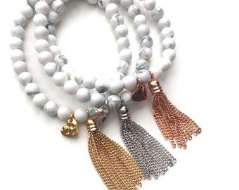 Petite Tassel Bracelet | Howlite