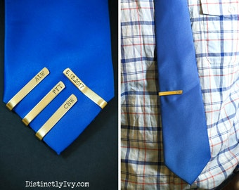 Brass Tie Bar • Groomsman Gift • Gold Tie Clip • Gold Tie Bar • Gift Him • Stamped Monogram • Stamped Tie Gift • Best Man Tie •Groomsman Tie