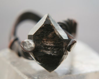 MEGALITH Crystal Ring, ring size 8, Himalayan Tibetan crystal, black phantom Crystal Ring-raw crystal,valentines men, Lemurian Diamond, Bibi