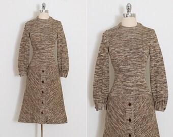 Vintage 70s Dress | vintage 1970s knit dress | sweater dress wood buttons | xs/s | 5840