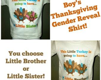 Boy's Gender Reveal Shirt, Pregnancy announcement shirt, Thanksgiving gender reveal shirt, Big Brother Turkey Shirt, Thanksgiving pregnancy
