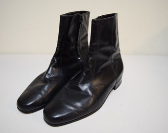 VINTAGE Mens FLORSHEIM Black Leather Side Zipper Ankle Boots Size 9 E