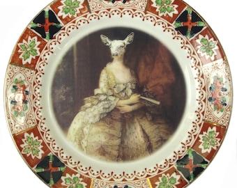 "Capra Aegagrus Hircus Portrait Plate - Altered Vintage Plate 7.15"""