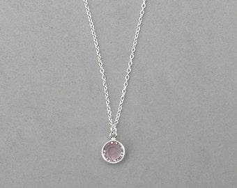 8 mm June Birthstone- Light Amethyst Drop Necklace