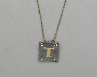 Square Leather T Necklace
