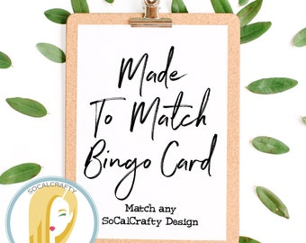 Bingo Card, Made To Match Any SoCalCrafty Design, Made To Order, Printable DIY, You Print