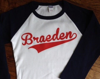 Personalized baseball shirt- white with black or red sleeves-ADULT