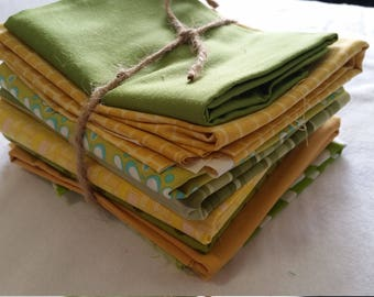 Green and yellow fabric bundle