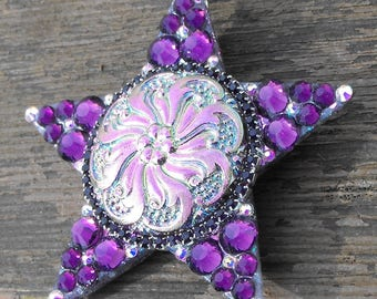Twirl, shining star, purple, pink, czech glass, aurora borealis, flower, amethyst, rose, love, dance, memory, romance, star necklace, star