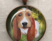 Basset Hound Keychain ~ Pet Portrait ~ Basset Hound ~ Basset Hound Painting ~ Gifts for HIm
