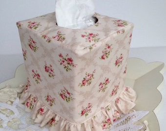 Shabby chic ivory and pink rose ruffled tissue box cover