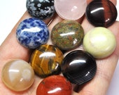 Grooved Round Cabochons Mix, Natural Gemstones, Macrame Supply Deep Grooves - 10 pcs Parcel - 19.5-20.5 mm - 204.5 ct - 161108-05