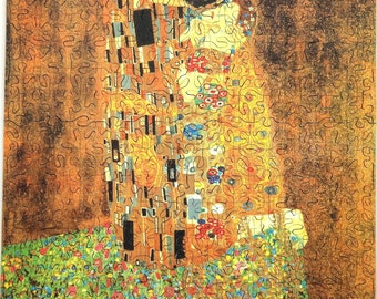 "New Hand Cut Wooden Gustav Klimt ""The Kiss"" 337-pc Jigsaw Puzzle in plywood box"