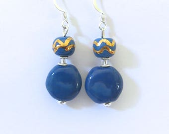 Kazuri Earrings, Blue with a touch of Gold Ceramic Earrings
