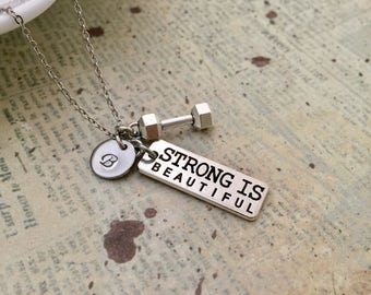 Fitness Necklace, Quote Necklace, Affirmation Necklace, Initial Necklace, Hand stamped Necklace, Friendship Necklace, Handmade Jewelry